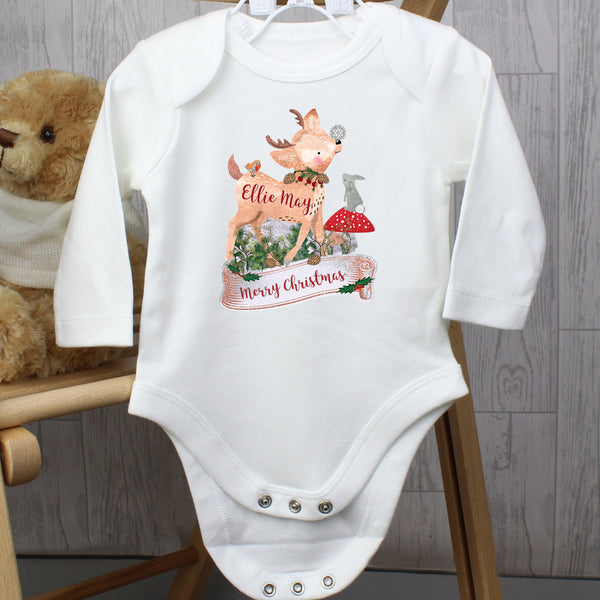 Personalised Festive Fawn 0-3 Months Long Sleeved Baby Vest with personalised name