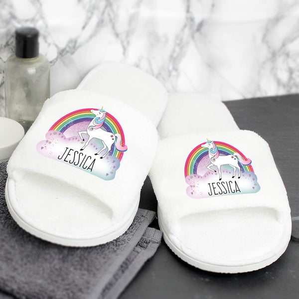 Personalised Unicorn Velour Slippers with personalised name