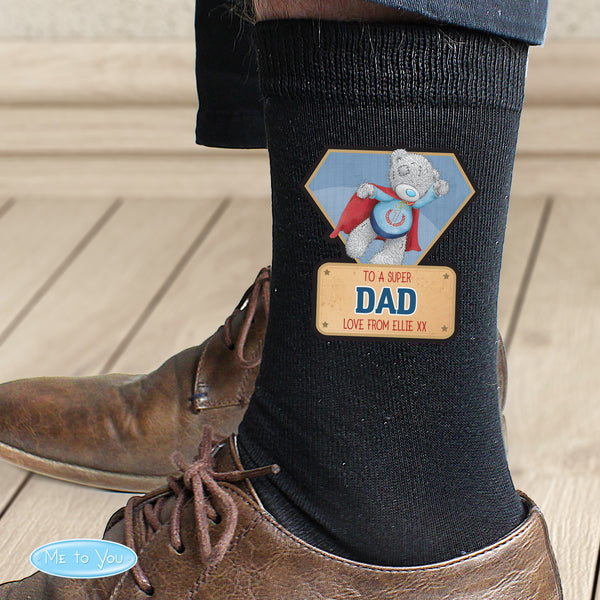 Personalised Me To You Super Hero Mens Socks with personalised name