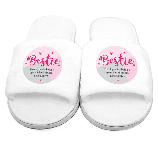Personalised #Bestie Slippers white background