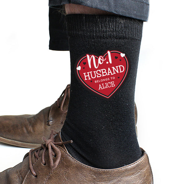 Personalised Hearts No.1 Men's Socks lifestyle image