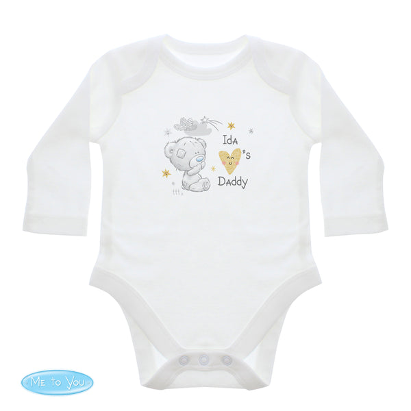 Personalised Tiny Tatty Teddy I Heart 0-3 Months Long Sleeved Baby Vest white background