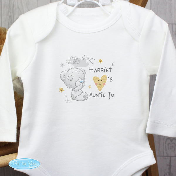 Personalised Tiny Tatty Teddy I Heart 0-3 Months Long Sleeved Baby Vest from Sassy Bloom Gifts - alternative view