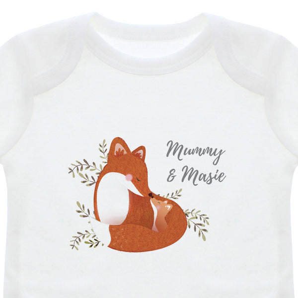 Personalised Mummy and Me Fox 0-3 Months Long Sleeved Baby Vest white background