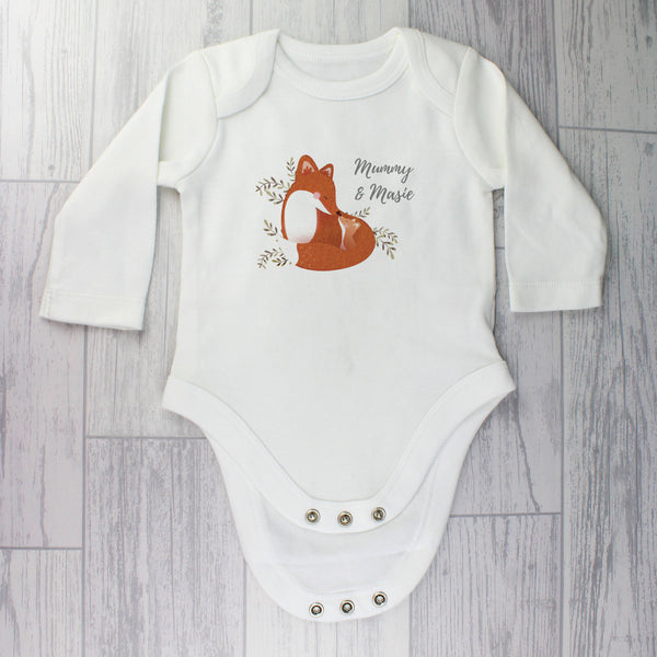 Personalised Mummy and Me Fox 0-3 Months Long Sleeved Baby Vest