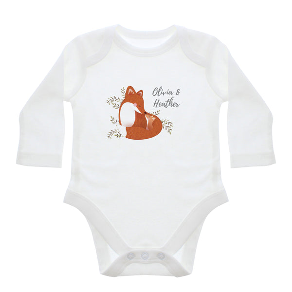 Personalised Mummy and Me Fox 3-6 Months Long Sleeved Baby Vest white background