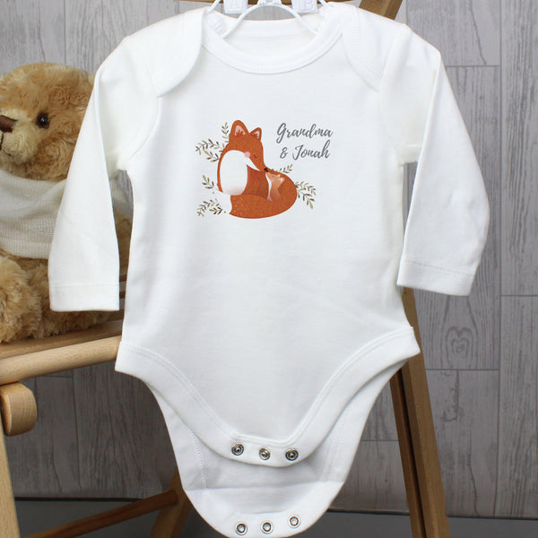 Personalised Mummy and Me Fox 3-6 Months Long Sleeved Baby Vest from Sassy Bloom Gifts - alternative view