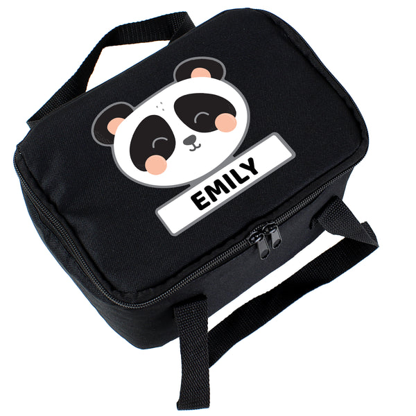 Personalised Panda Black Lunch Bag white background