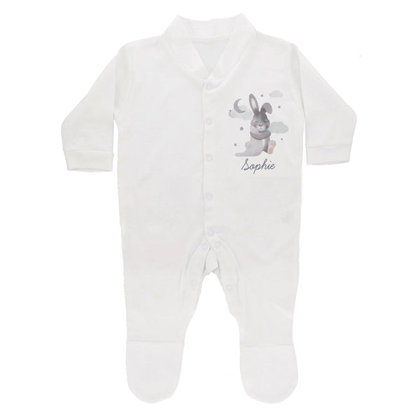 Personalised Baby Bunny Babygrow 0-3 months white background