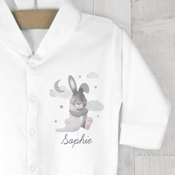 Personalised Baby Bunny Babygrow 0-3 months lifestyle image