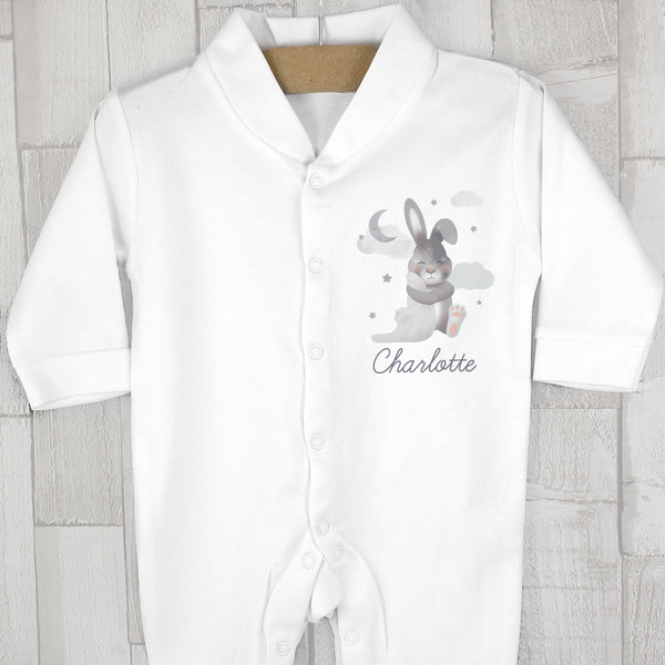Personalised Baby Bunny Babygrow 0-3 months with personalised name