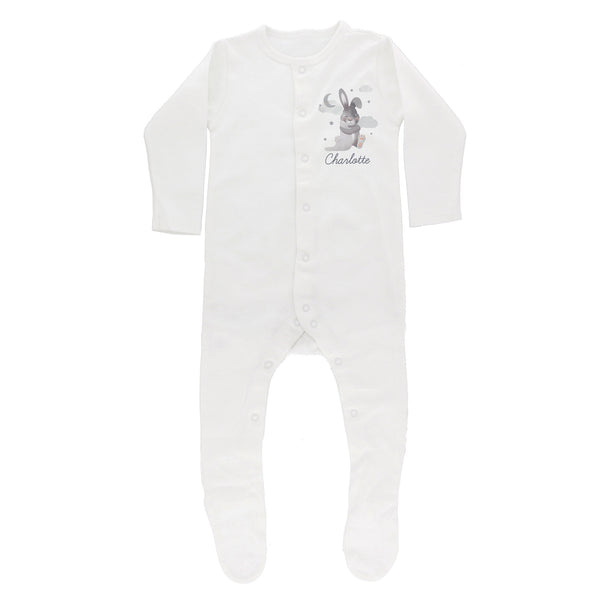 Personalised Baby Bunny Babygrow 6-9 months white background