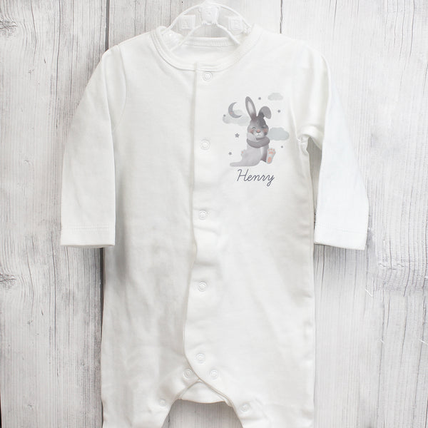 Personalised Baby Bunny Babygrow 6-9 months with personalised name