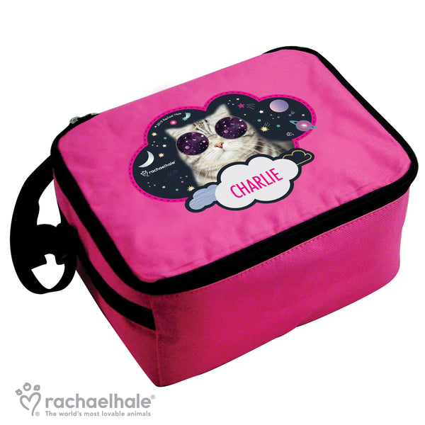 Personalised Rachael Hale Space Cat Pink Lunch Bag white background