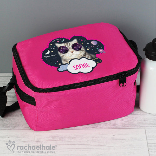 Personalised Rachael Hale Space Cat Pink Lunch Bag with personalised name