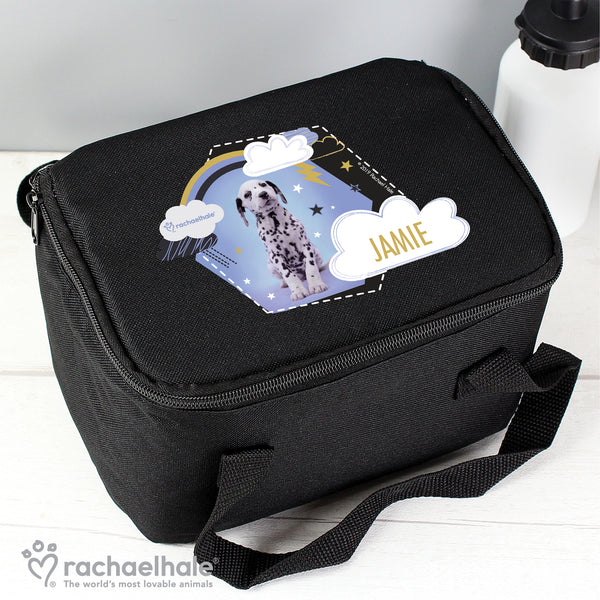 Personalised Rachael Hale Dalmatian Black Lunch Bag with personalised name