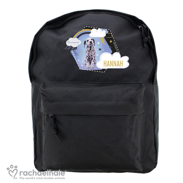 Personalised Rachael Hale Dalmatian Black Backpack white background