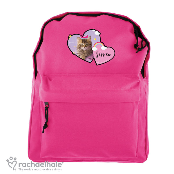 Personalised Rachael Hale Cute Cat Pink Backpack white background
