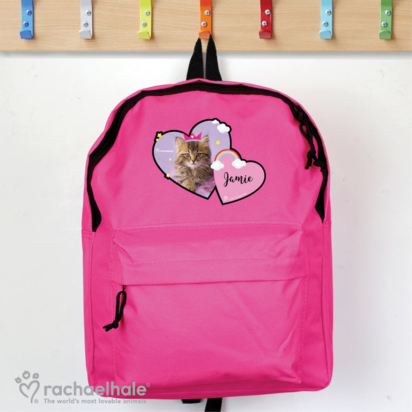 Personalised Rachael Hale Cute Cat Pink Backpack lifestyle image