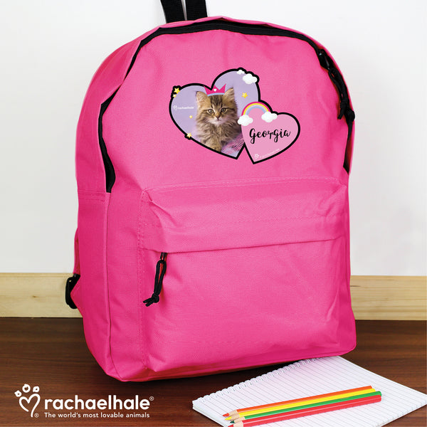 Personalised Rachael Hale Cute Cat Pink Backpack with personalised name