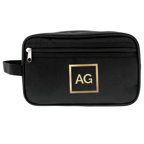 Personalised Gold Initials Black Wash Bag white background