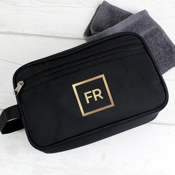 Personalised Gold Initials Black Wash Bag from Sassy Bloom Gifts - alternative view
