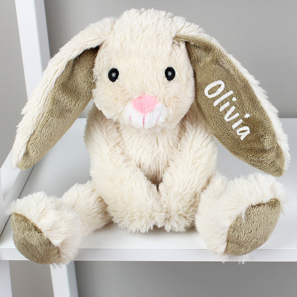 Personalised Bunny Soft Toy On Chair Arms Crossed