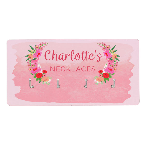 Personalised Floral Watercolour Jewellery Hooks white background