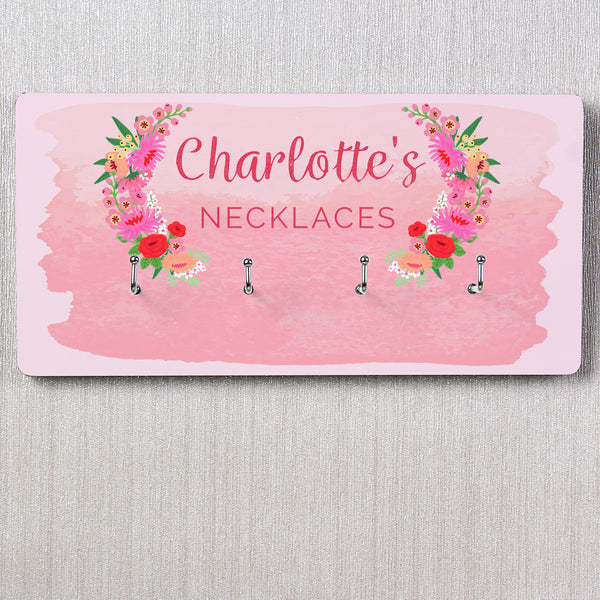 Personalised Floral Watercolour Jewellery Hooks lifestyle image