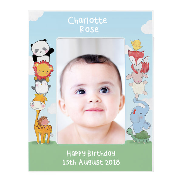 Personalised Baby Animals 6x4 Wooden Photo Frame white background