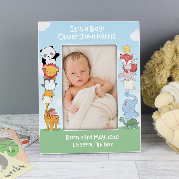Personalised Baby Animals 6x4 Wooden Photo Frame from Sassy Bloom Gifts - alternative view