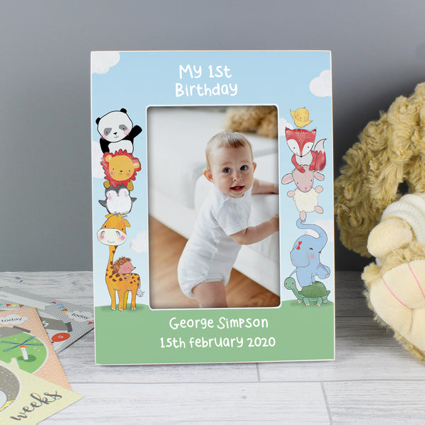 Personalised Baby Animals 6x4 Wooden Photo Frame lifestyle image