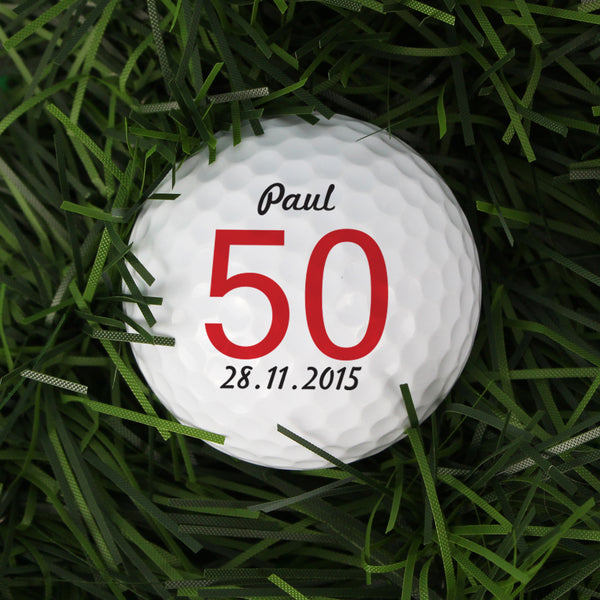 Personalised Big Numbers Birthday Golf Ball white background