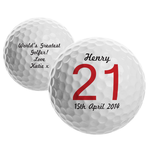 Personalised Big Numbers Birthday Golf Ball lifestyle image