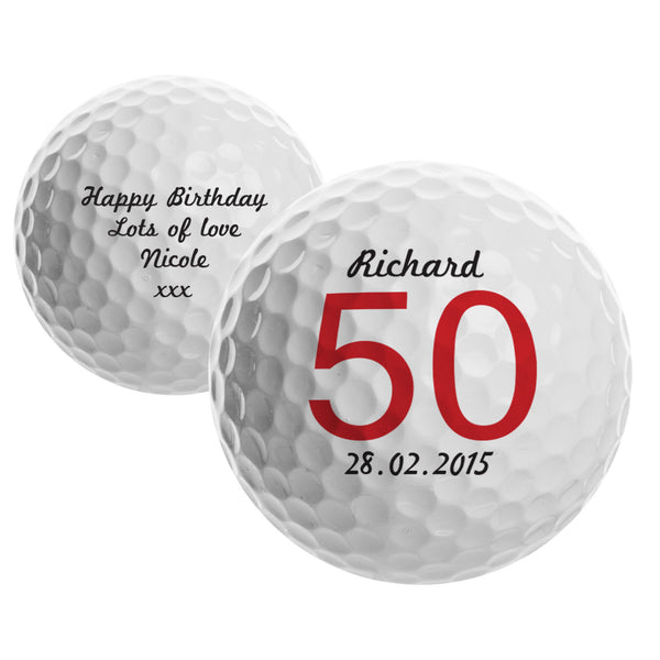 Personalised Big Numbers Birthday Golf Ball with personalised name
