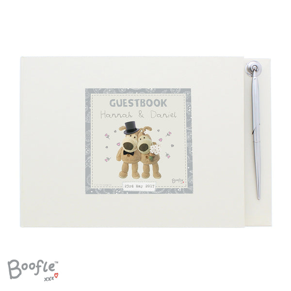 Personalised Boofle Wedding Guest Book & Pen white background