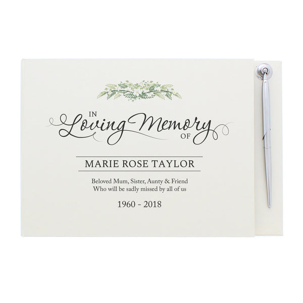 Personalised In Loving Memory Guest Book & Pen white background