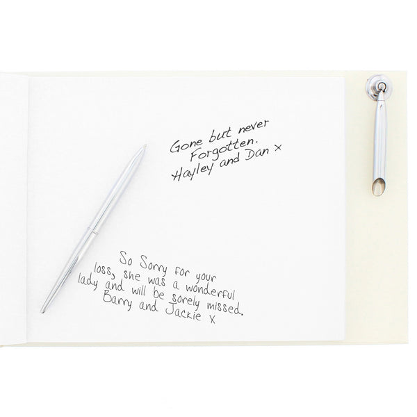 Personalised In Loving Memory Guest Book & Pen with personalised name