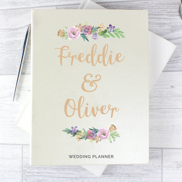Personalised Floral Watercolour Wedding Planner with personalised name