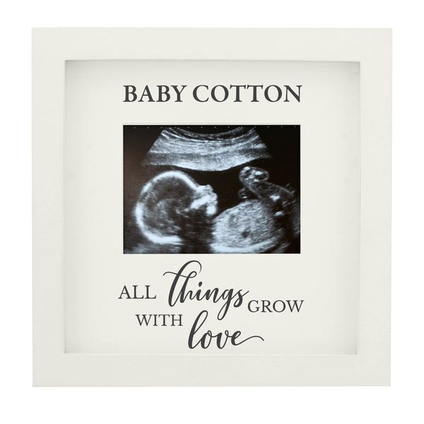 Personalised All Things Grow Baby Scan Frame white background