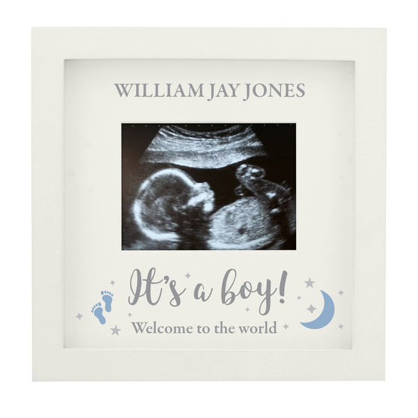 Personalised 'It's A Boy' Baby Scan Frame white background