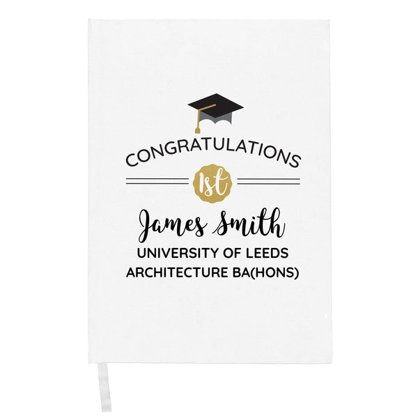 Personalised Graduation Hardback A5 Notebook white background