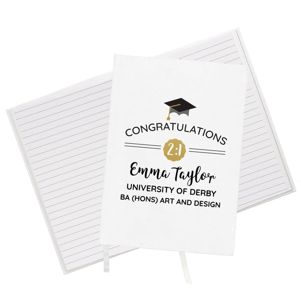 Personalised Graduation Hardback A5 Notebook lifestyle image