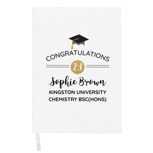Personalised Graduation Hardback A5 Notebook with personalised name