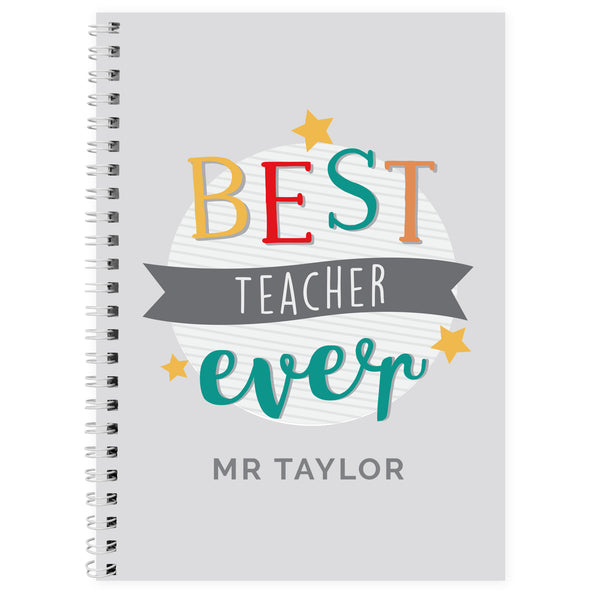 Personalised 'Best Teacher Ever' A5 Notebook white background