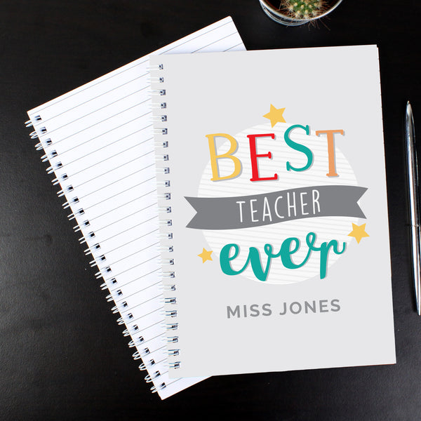 Personalised 'Best Teacher Ever' A5 Notebook from Sassy Bloom Gifts - alternative view