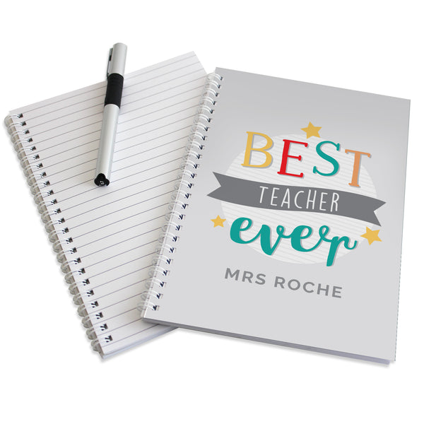 Personalised 'Best Teacher Ever' A5 Notebook lifestyle image