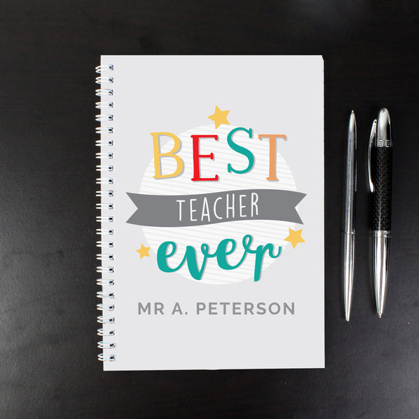 Personalised 'Best Teacher Ever' A5 Notebook with personalised name