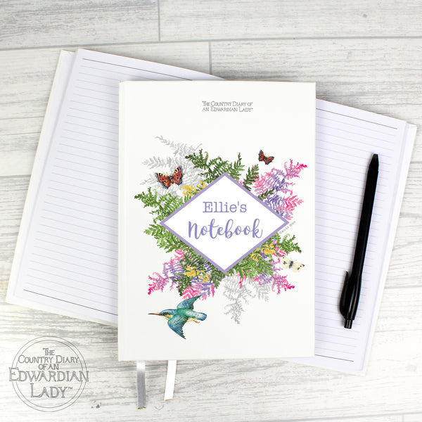 Personalised Country Diary Botanical Hardback A5 Notebook with personalised name