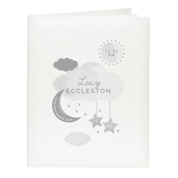 Personalised New Baby Moon & Stars Album with Sleeves white background